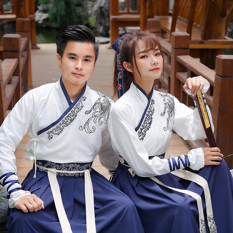 Photo Shoot New Style han dynasty Element Improved Chinese Clothing Cross from Embroidery Couple Clothes Business Attire Performance Wear Group Buying Martial Arts Wind