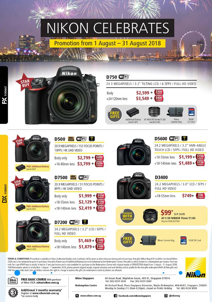 Nikon D3400 DSLR with 18-55mm Lens + Cleaning Kit + Nikon Promotion (Please note that price is after Cash back)