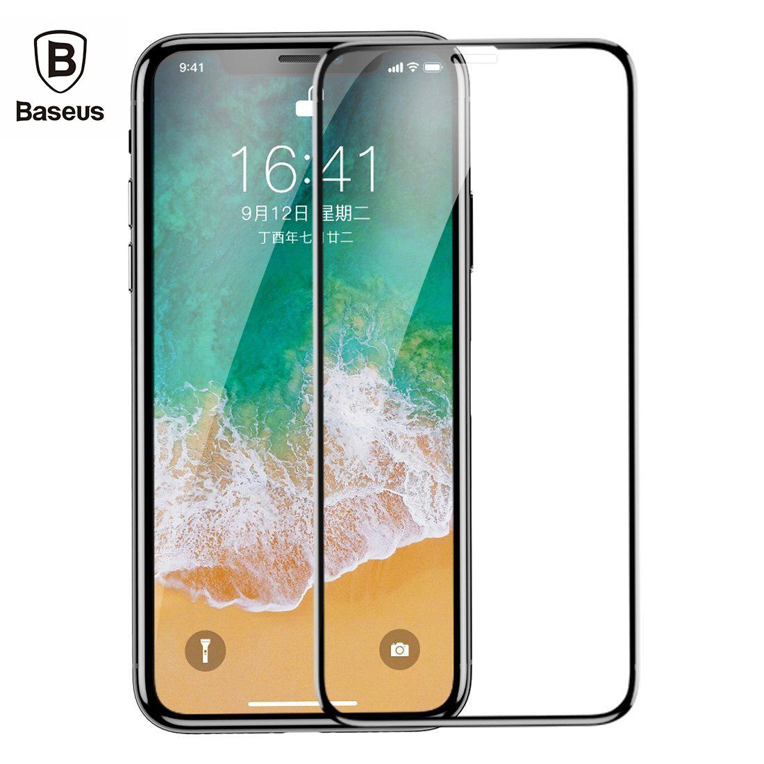 iPhone X/XS/XS Max Glass Screen Protector, Baseus 0.3mm 9H Hardness Full Screen Tempered Glass Protector for iPhone X/XS/XS Max [HD Clear] [Shock Proof] [Anti Fingerprint] [Anti Bubble] [Easy Install]