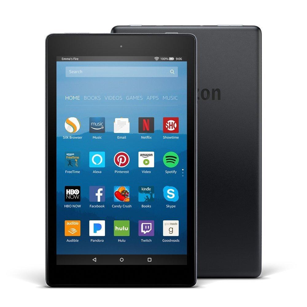 Amazon Fire HD 8 Tablet with Alexa, 8″ HD Display, 16 GB, Black (2017, 7th generation)