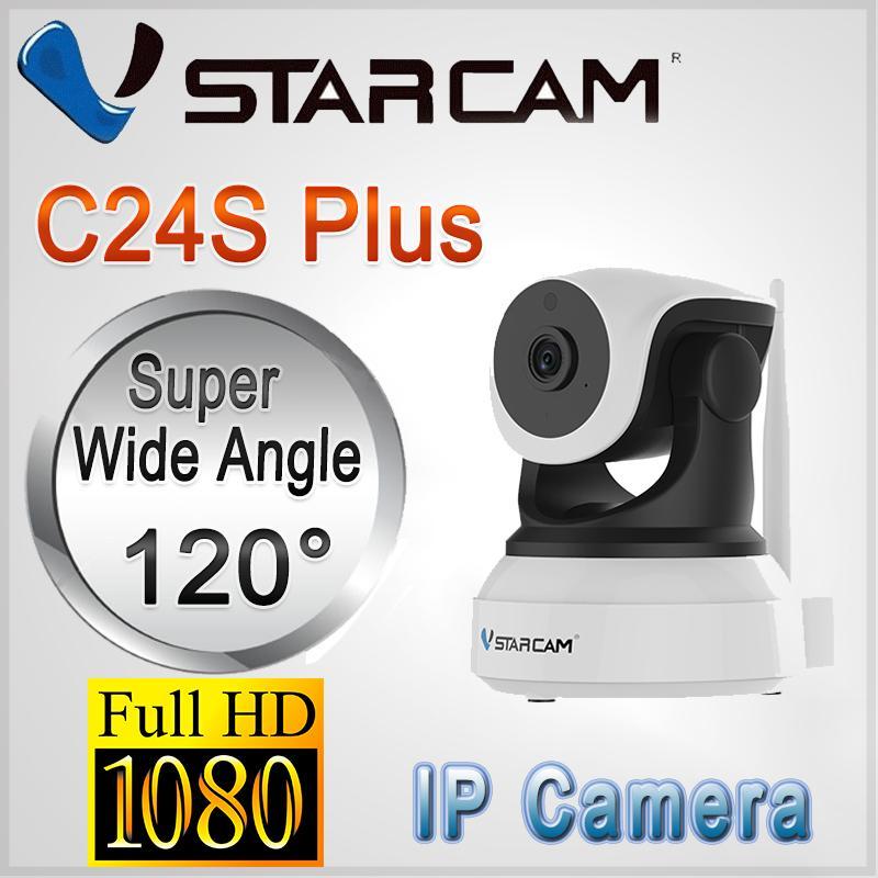 1080P Authentic Vstarcam C24S Plus IP Camera CCTV SD Card Slot Pan/Tilt 1080P HD Night Vision (White Not included hard drive)