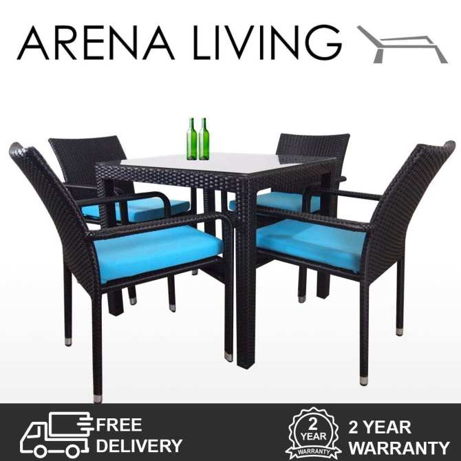 Palm 4 Chair Dining Set Blue Cushion, Outdoor Furniture by Arena Living™