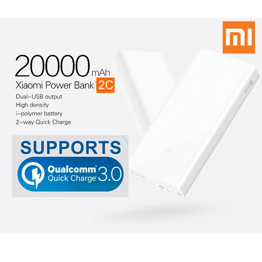 Latest New 20000mAh Xiaomi Mi Power Bank 2C Support Qualcomm 3.0 Quick Charge