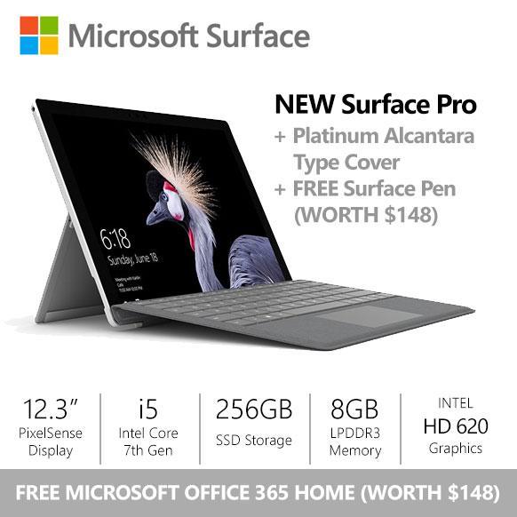[9.9 SALE] Surface Pro (2017) i5 / 8gb / 256gb + Platinum Alcantara Type Cover + Surface Pen + Office 365 Home Complete Bundle