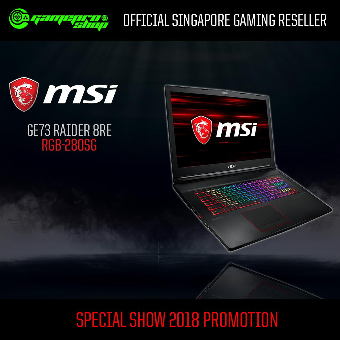 MSI GE73 Raider 8RE RGB-280SG (I7-8750H/16GB/256GB SSD/GTX1060)17.3″ with 120Hz Gaming Laptop *END OF MONTH PROMO*