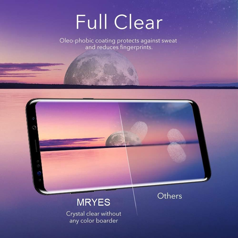MRYES Samsung Galaxy Note 9 Full Glue Tempered Glass Screen Protector Case Friendly Fully adhesive