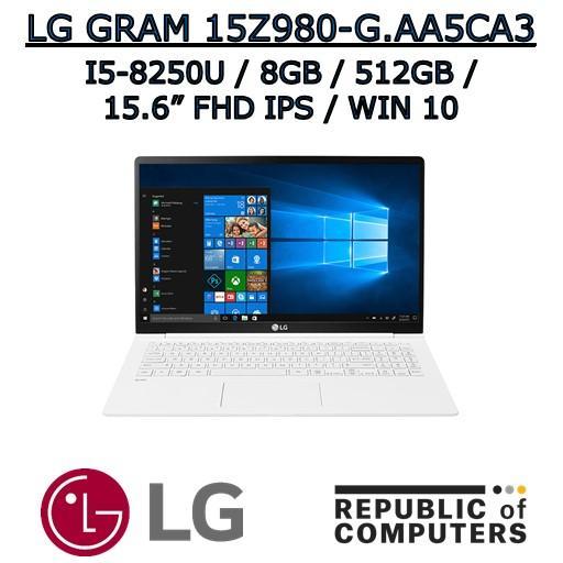 LG GRAM 15Z980-G.AA5CA3 I5-8250U / 8GB / 512GB SSD / 15.6″ FHD IPS / WINDOW 10