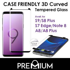 Case Friendly 3D Curved Tempered Glass For Samsung Galaxy Note 9 / S9 G960 / S9 Plus G965 / S8 / S8 Plus / Note 8 / A8 Plus / A8 2018 – Black