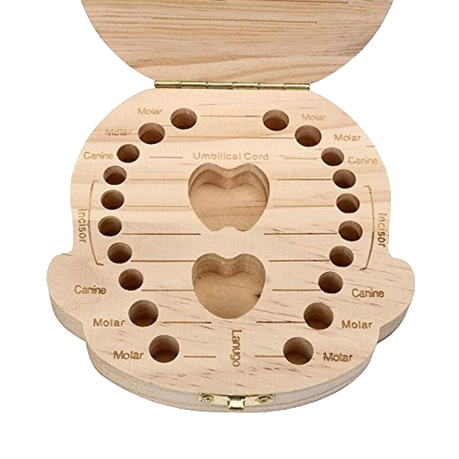 Color Printing Boy Style Wooden Baby First Milk Tooth Teeth Collecting Case Molar Canine Umbilical Cord Incisor Lanugo Storage Organizer Box Gift
