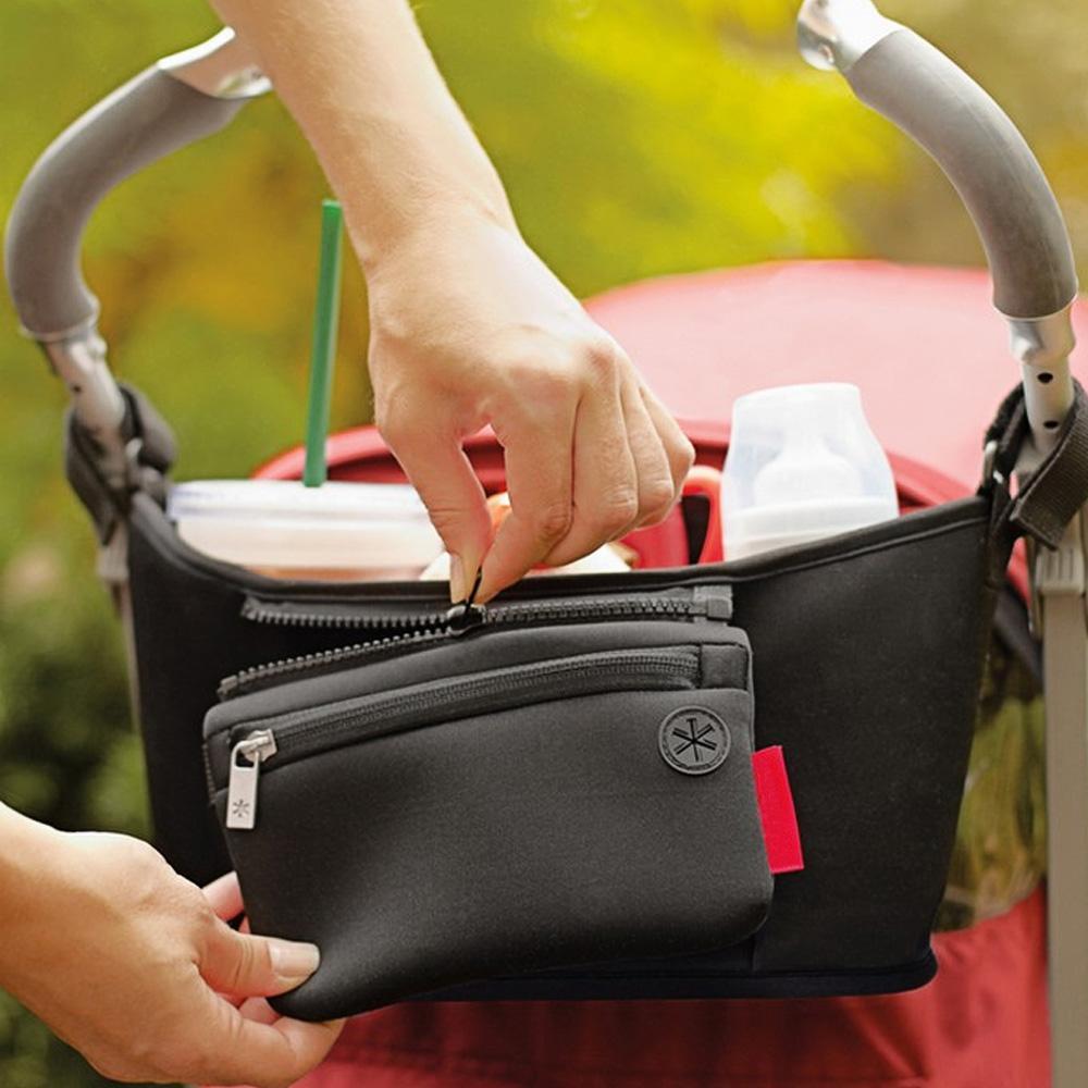 คูปองส่วนลดเมื่อซื้อ Unbranded/Generic อุปกรณ์เสริมรถเข็นเด็ก รถเข็นเด็กทารกสากลรถเข็นเด็กที่แขวนถ้วยขวด Organizer ที่แขวนเก็บของกระเป๋าสีดำ - INTL มีประกินสินค้า