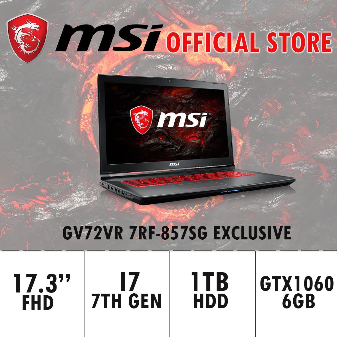 MSI GV72VR 7RF-857SG EXCLUSIVE (I7-7700HQ/8GB DDR4/128GB SSD+1TB HDD 7200RPM/6GB NVIDIA GTX1060) GAMING LAPTOP