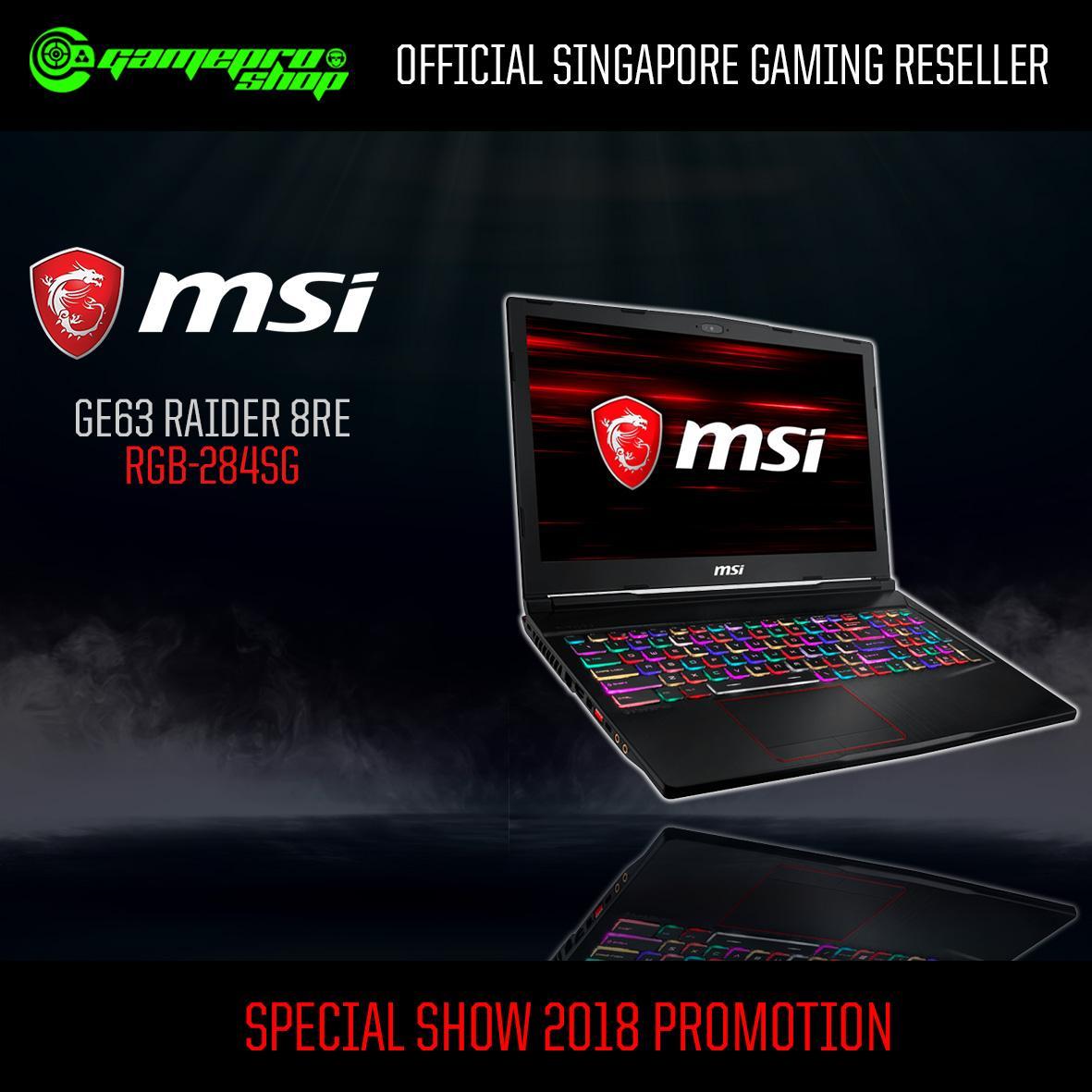 MSI GE63 Raider 8RE RGB-284SG (I7-8750H/16GB/256GB SSD/GTX1060)15.6″ with 120Hz Gaming Laptop *COMEX PROMO*