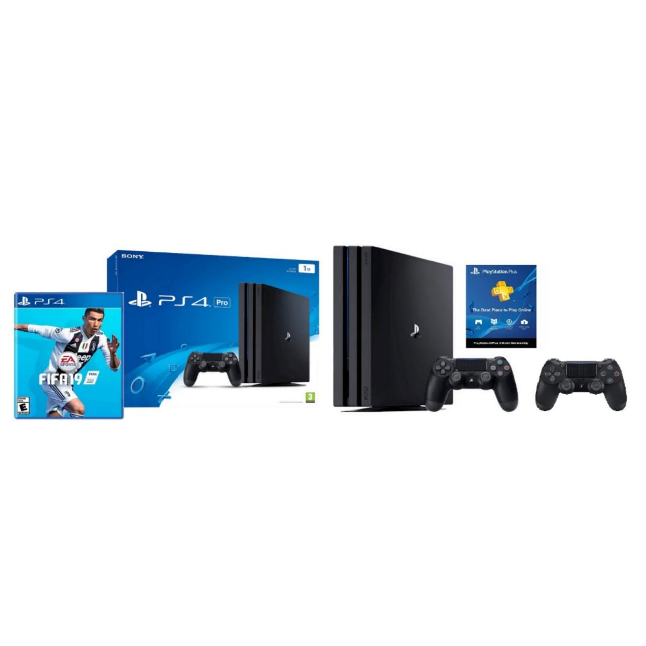 PS4 1TB Pro Console with 2 Controllers (Black) + FIFA 19