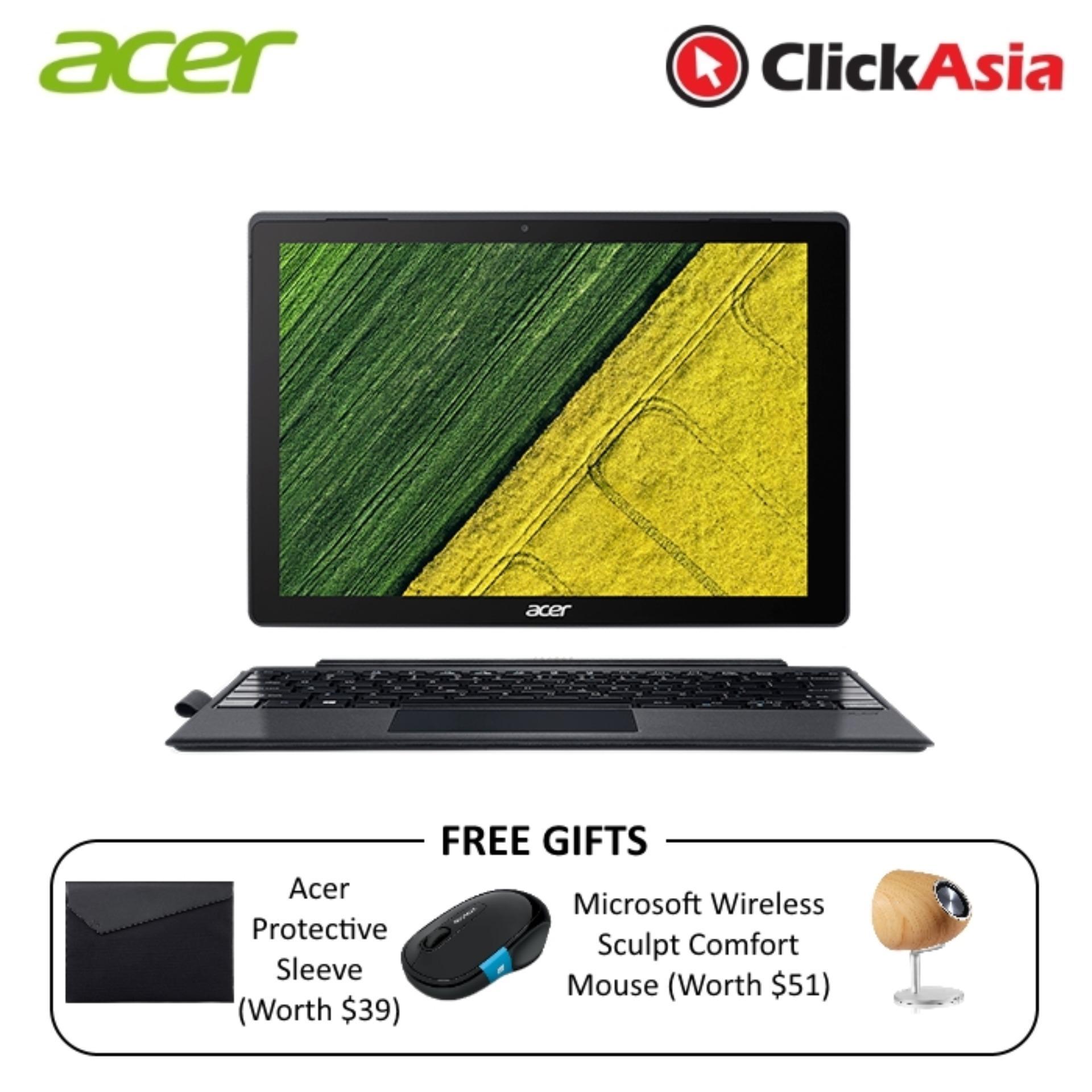Acer Switch 5 (SW512-52P-72K1) – 12″ TouchScreen/i7-7500U/8GB DDR3/512GB SSD/W10 Pro (Black)