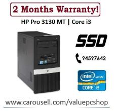 Speedy SSD Core i3: HP Pro 3130 MT/ 4GB RAM/ 120GB SSD + 250GB HDD (Refurbished Desktop CPU)