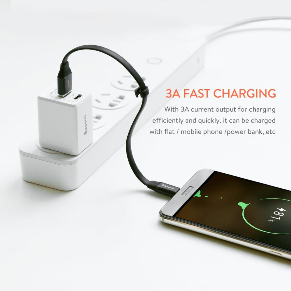BASEUS Nimble 23cm Flat Data Charge Charger Charging For Type C USB C Samsung S9 S9+ Plus Note 8 S8...