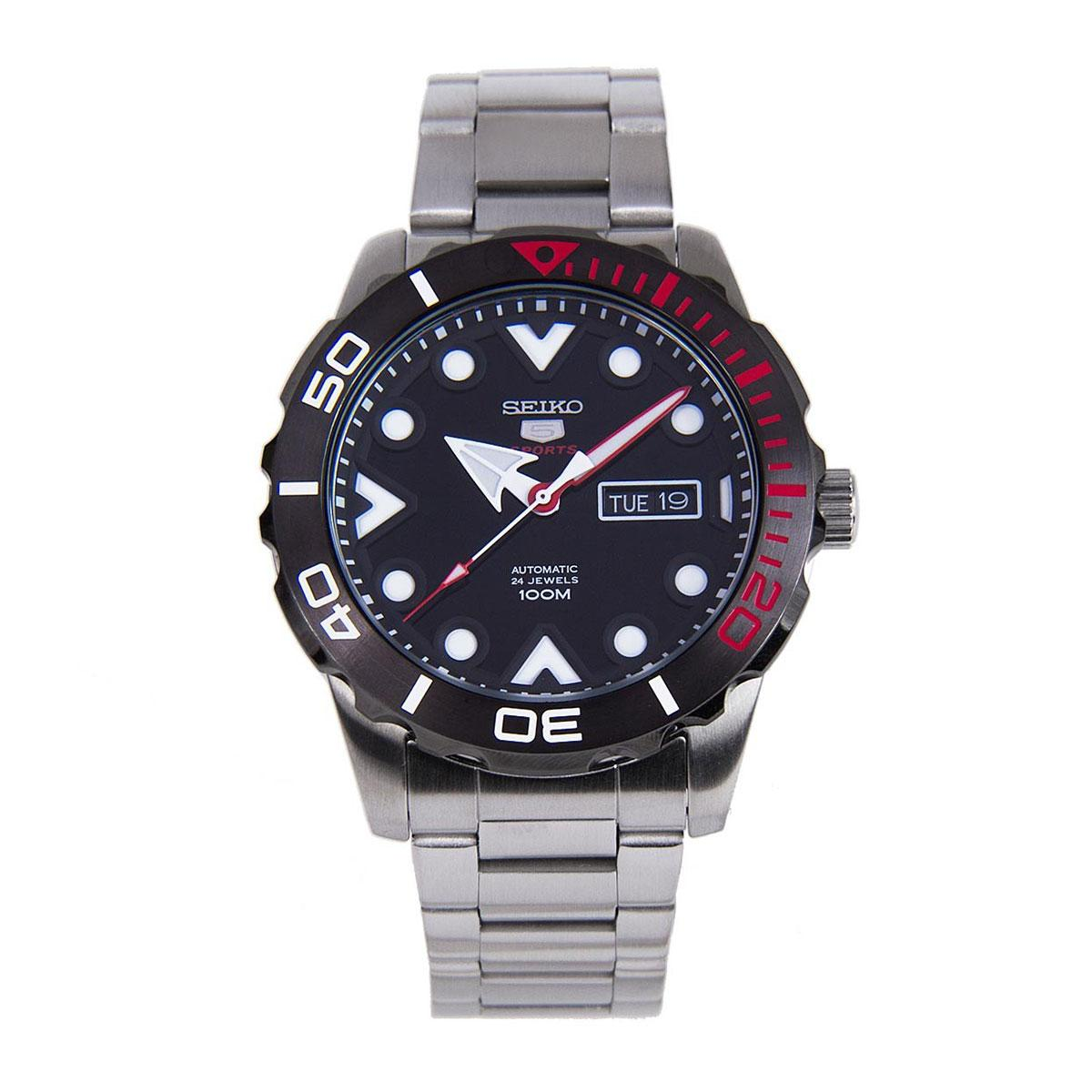 Seiko 5 Sports Silver Stainless-Steel Case Stainless-Steel Bracelet Mens SRPA07K1