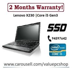 Speedy SSD Core i5 Gen3: Lenovo X230 / 4GB RAM/ 120GB SSD (Refurbished Laptop notebook)