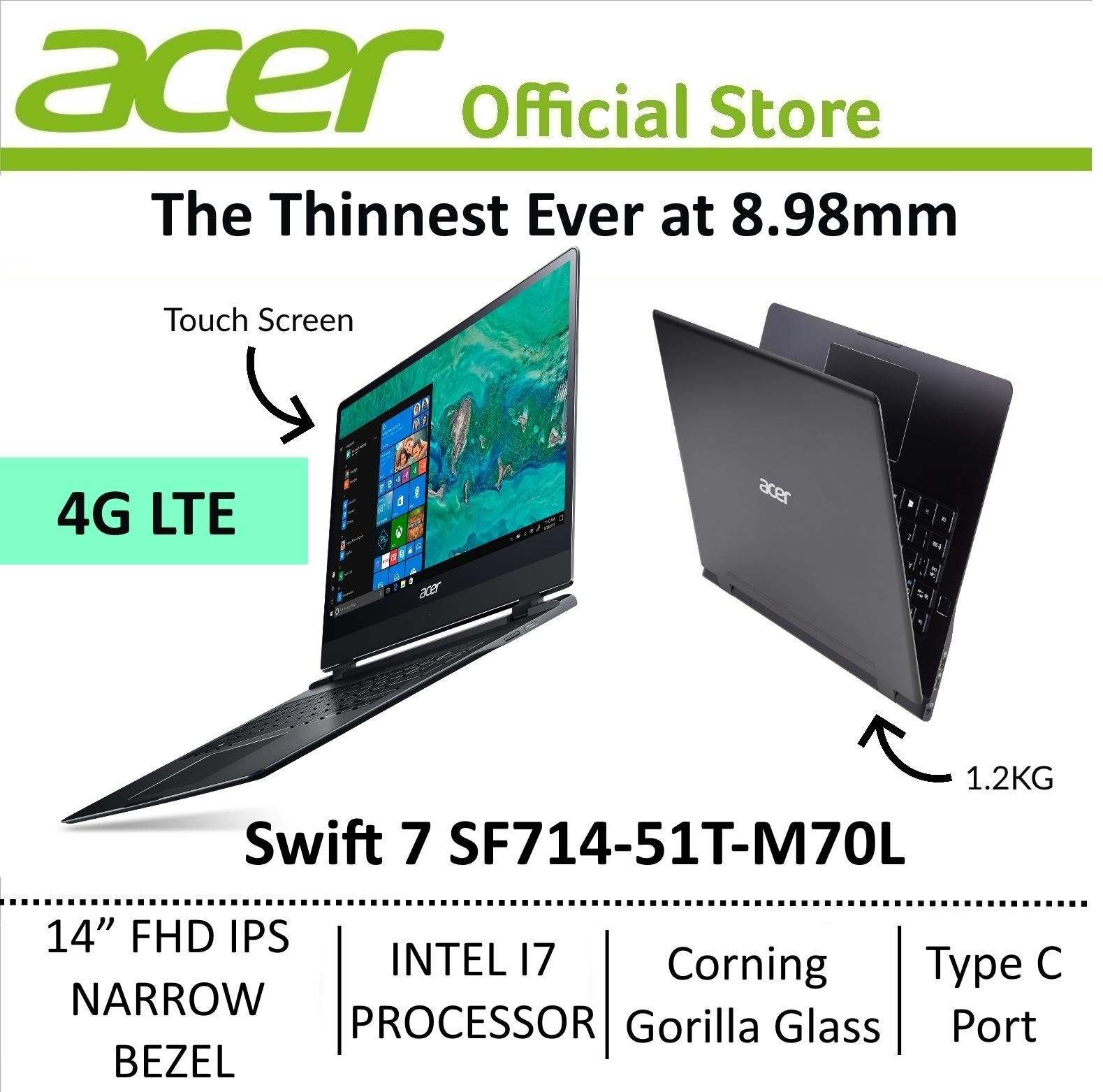 Acer Swift 7 SF714-51T-M70L The Thinnest Laptop with LTE 4G