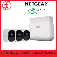 NETGEAR VMS4330 Arlo Pro Security System 3 Rechargeable Wire-Free HD Night Vision Indoor / Outdoor Security Camera with Audio and Siren (VMS4330) 100NAS