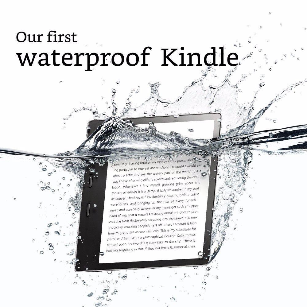 2017 New Kindle Oasis 8GB (Graphite), 7″ HD (300 ppi), Waterproof, Built-In Audible (Wi-Fi with Special Offers)