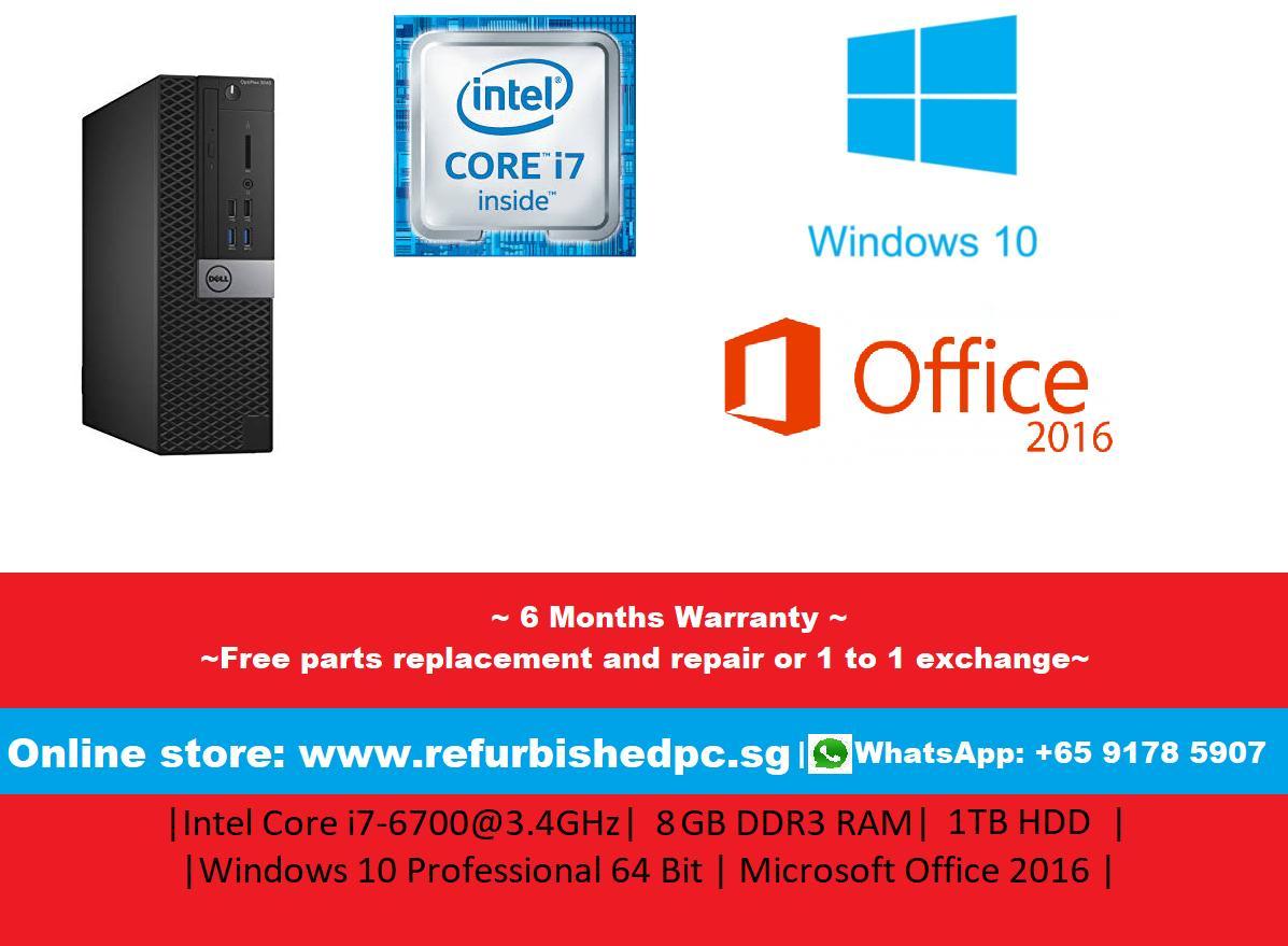 [Refurbished] Dell Optiplex 3040 Small Form Factor (Wifi) Intel Core i7-6700@3.4GHz | 8GB DDR3L RAM | 1TB HDD | | Microsoft Office 2016 | Windows 10 Professional 64 Bit | 6 Months Warranty |