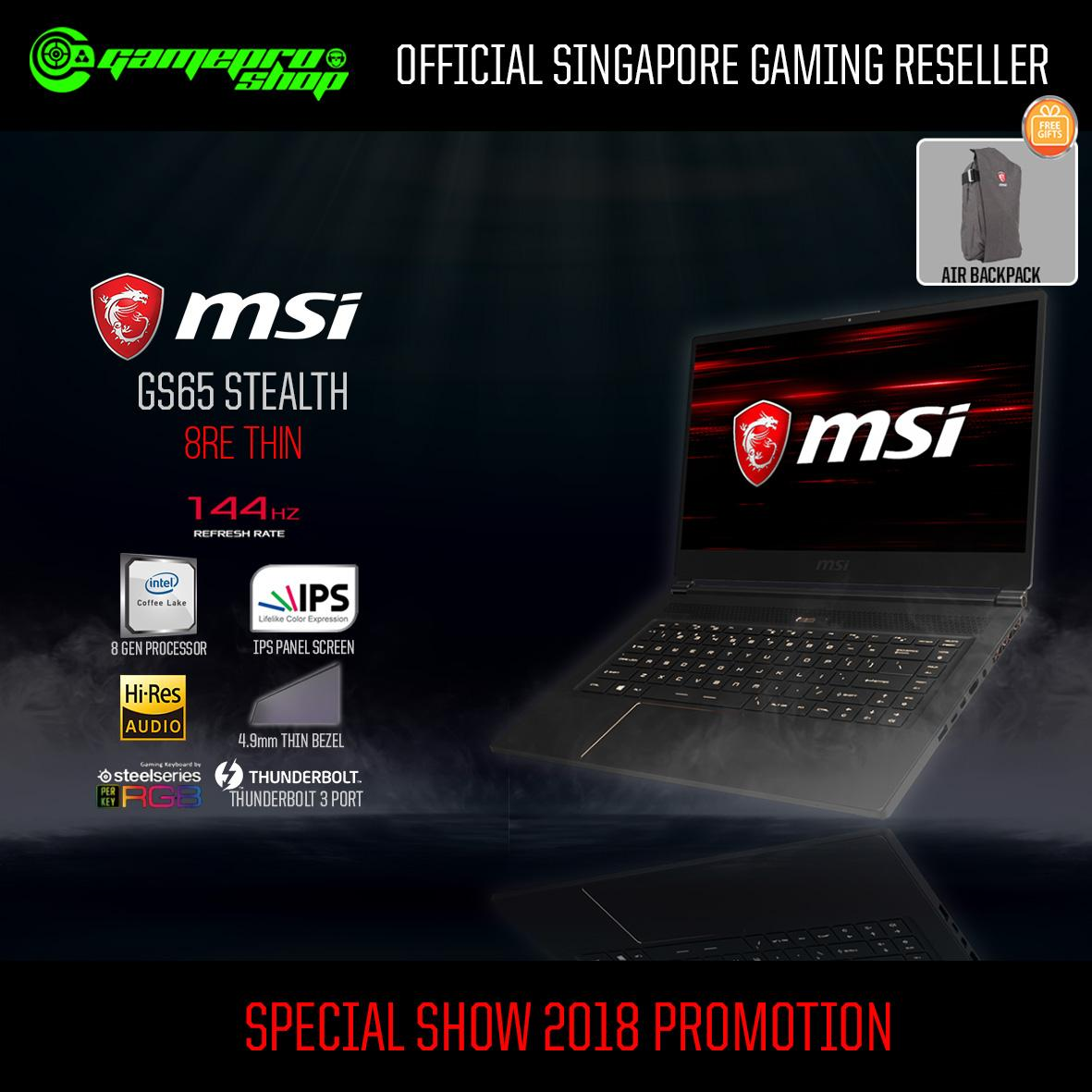 8th Gen MSI GS65 Stealth 8RE-Thin (8th-Gen / GTX1060 / 256GB SSD) 15.6″ with 144Hz Gaming Laptop *12.12 PROMO*