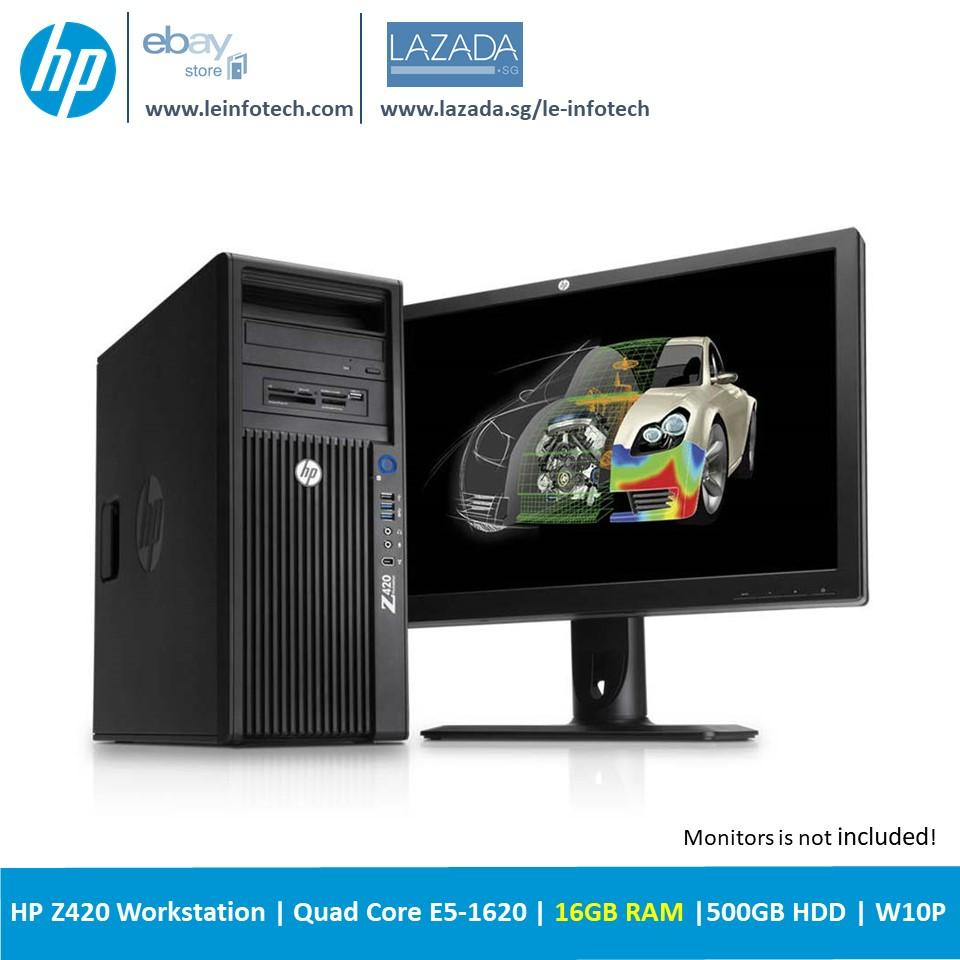 HP Z420 Tower Workstation Intel Xeon Quad Core E5-1620 #3.6Ghz 16GB DDR3 500GB SATA HDD NVS 300 Win 10 Pro Used