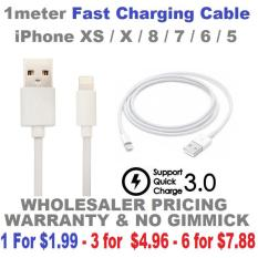Iphone 1m Fast Charging Cable – XS / X / 8 / 7 / 6 / 5 – 1Mth Warranty – 1 For $1.99 – 3 for $4.96 – 6 for $7.88