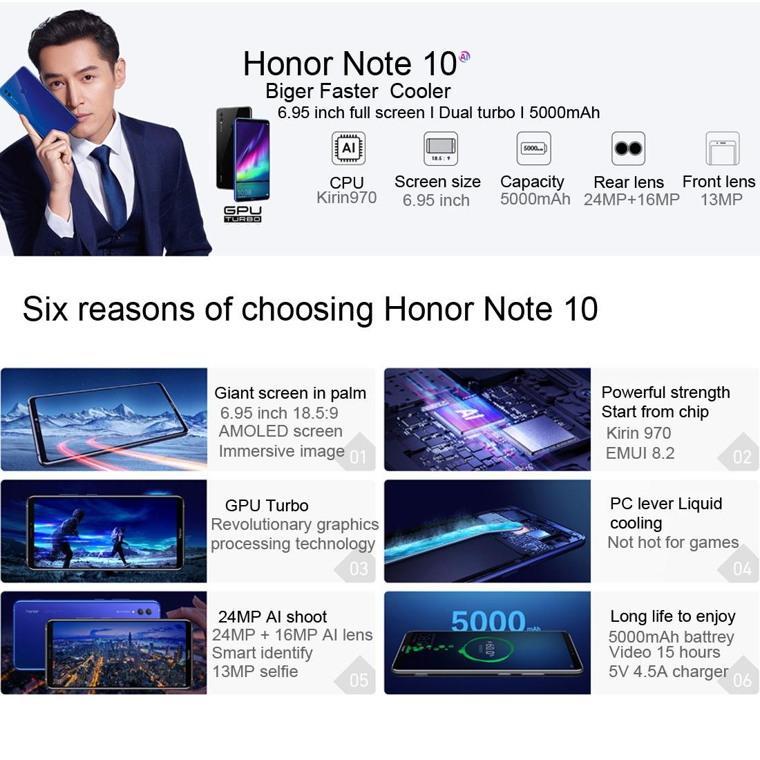 Huawei Honor Note 10 Dual Sim (6GB, 64GB/128GB) 4G Smartphone ***Free TPU Case, Tempered Glass Screen Protector and Bluetooth In-ear...