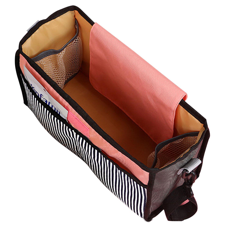 Review Unbranded/Generic อุปกรณ์เสริมรถเข็นเด็ก รถเข็นเด็กทารกสากลเข็นรถเข็นเด็กทารกขนาดใหญ่ความจุถ้วยขวดผ้าอ้อมผ้าผู้ถือแขวนกระเป๋าเก็บกระเป๋า Stripe - นานาชาติ ของดีต้องบอกต่อ