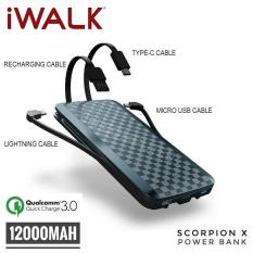iWalk Scorpion 12000X Powerbank Built-in 4 in 1 Cables with QC 3.0 12000mAH Portable Battery Power Bank