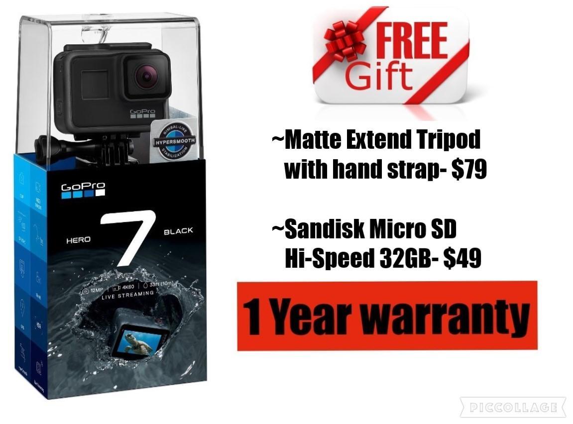 GoPro HERO 7 Black (free gift $128) 1 Yr warranty
