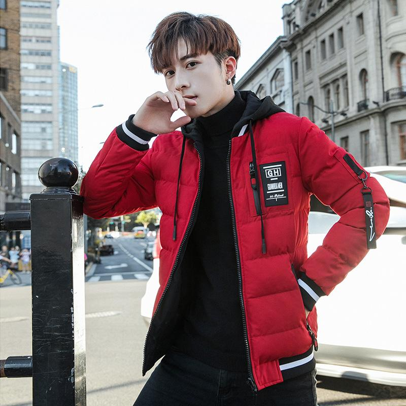 Double-sided Wear Cotton-padded Clothes Korean Style Trend Winter Slim Fit Handsome Youth nan mian fu Hooded Thick Students Cotton-padded Jacket Coat