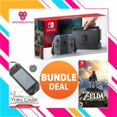 Nintendo Switch Console Bundle With Nintendo Switch The Legend Of Zelda Breath Of Wild +Nyko Thin Case Includes Screen Armour (GREY/NEON)(1 Year local warranty)