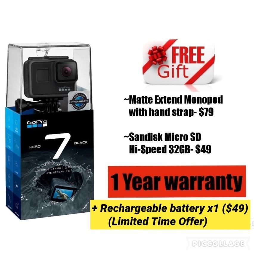 GoPro HERO 7 Black (free gift $177) 1 Yr warranty