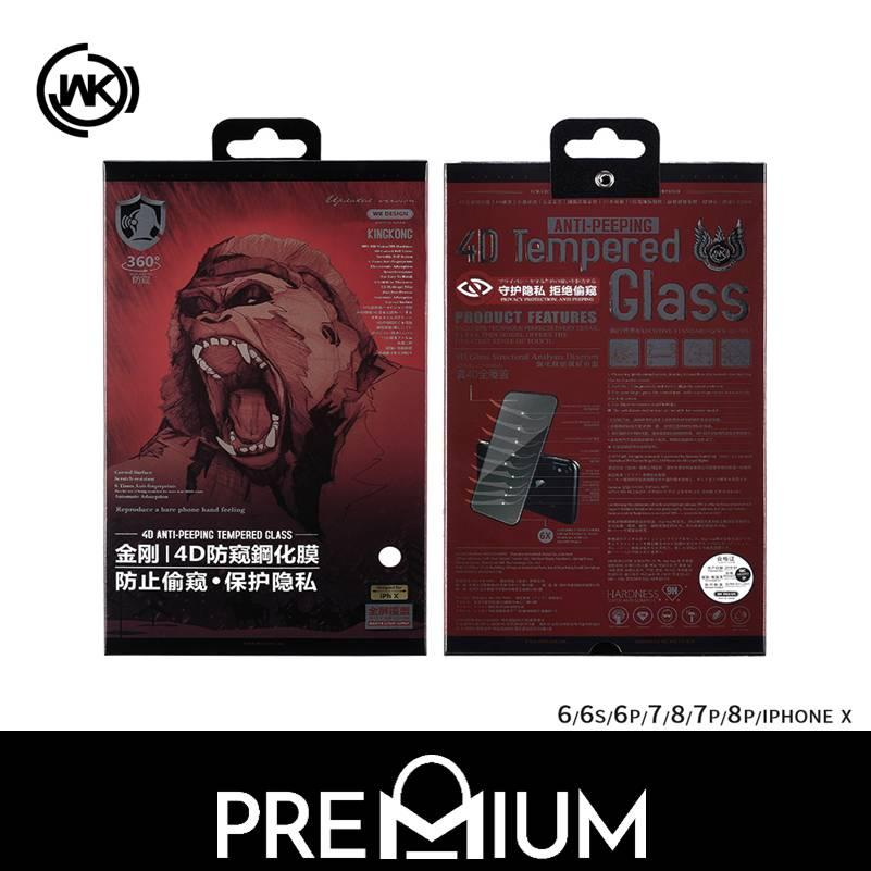 WK King Kong 4D Full Cover Tempered Glass Screen Protector For iPhone Xs X 6 6S 7 8 Plus – Black (Privacy)