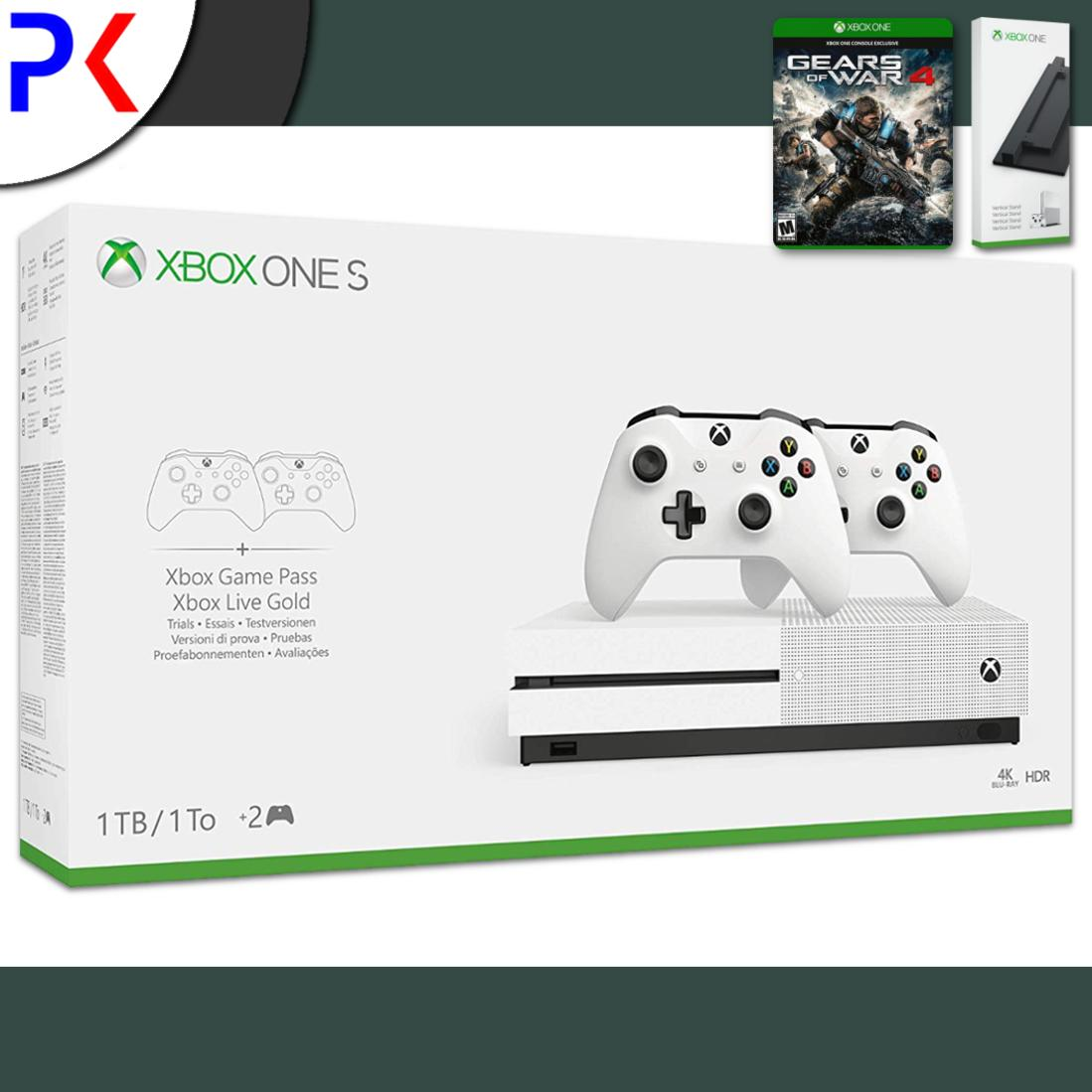 Xbox One S 1TB (ASIA) Two Controller Bundle + Gears of War 4 + Free Vertical Stand