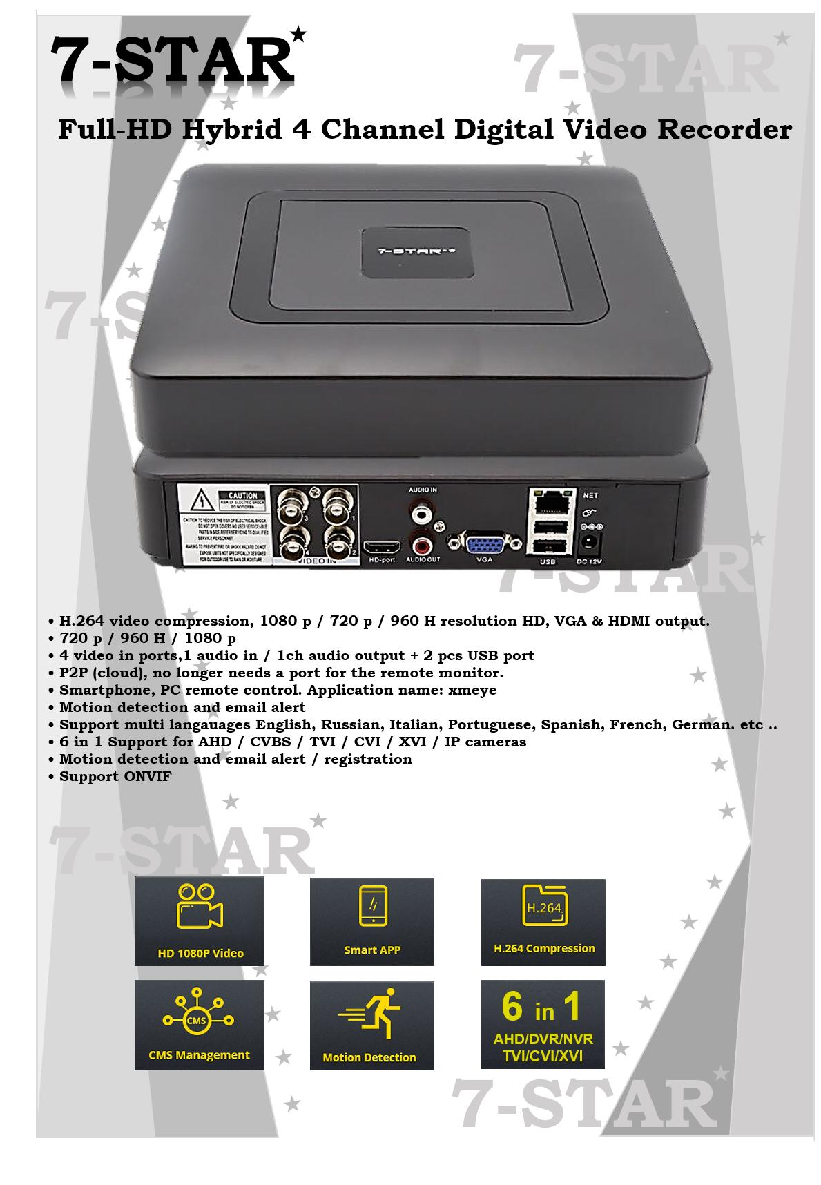 Mini Hybrid 4CH AHD 1080P DVR 6 IN 1 AHD TVI CVI XVI CVBS 960H Security CCTV DVR HDMI DVR NVR Support 1080P IP Camera – 4 Channel DVR+NVR+XVR (APP:XMEYE)