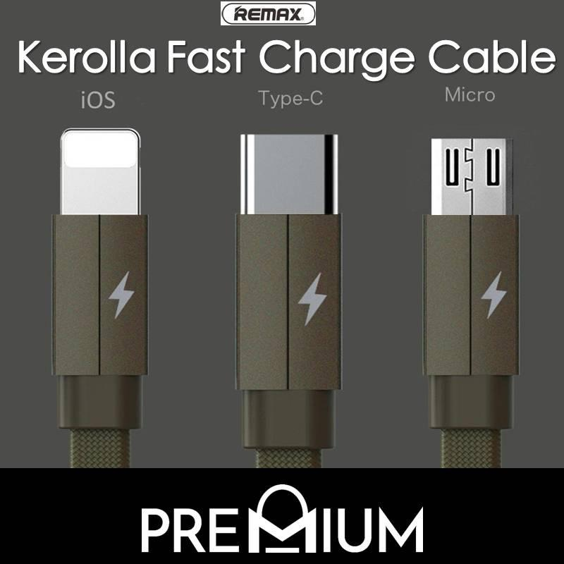 REMAX Kerolla Fast charge Cable 1M For USB Type C / USB C Samsung S9 S9+ Plus Note 8 S8 S8+ Plus Note 9 Huawei P20 Pro Mate 10 9 Xiaomi Oppo Sony LG