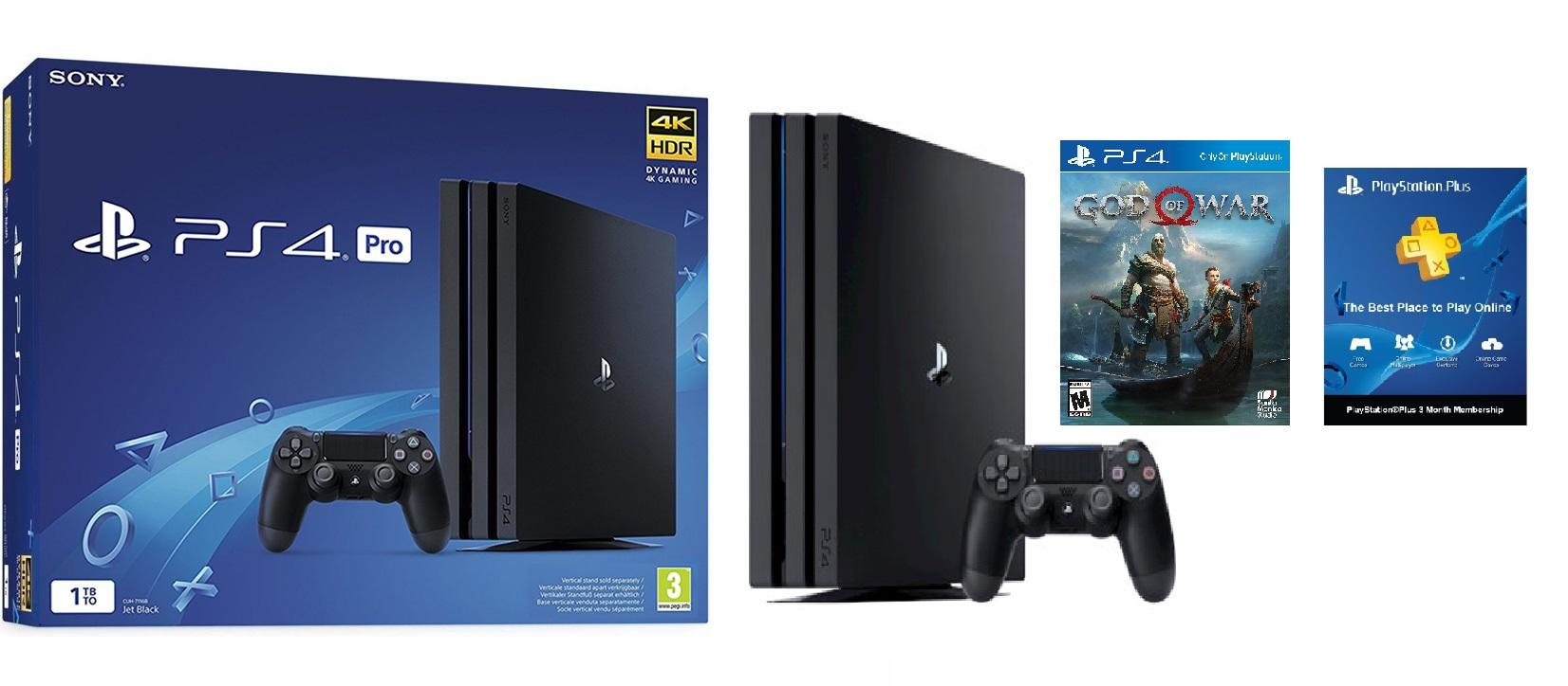 PS4 Pro 4K HDR 1TB Console (Black) + God of War 2018