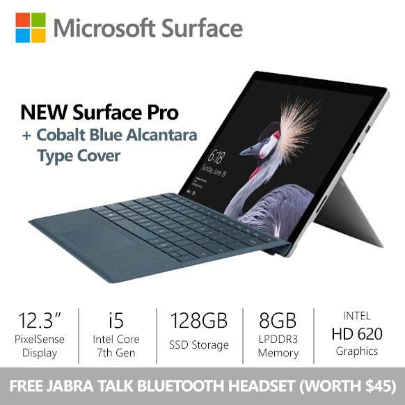 [9.9 SALE] Surface Pro (2017) i5 / 8gb / 128gb + Cobalt Blue Alcantara Type Cover Bundle