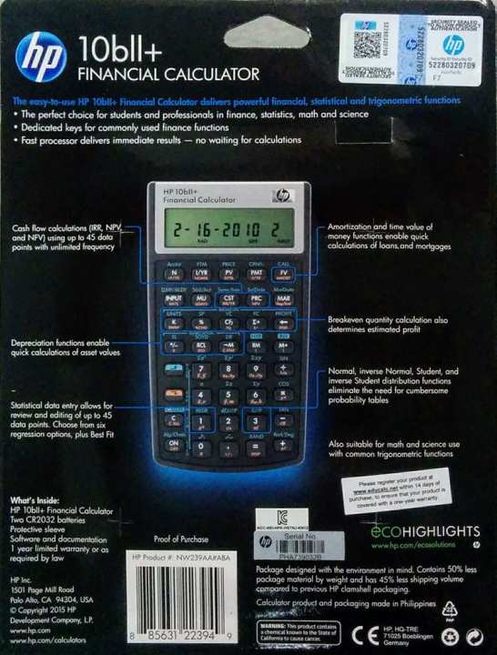 HP 10bII+ Financial Calculator with International HP Warranty For Only $58
