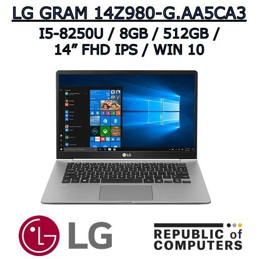 LG GRAM 14Z980-G.AA5CA3 I5-8250U / 8GB / 512GB SSD / 14″ FHD IPS / WINDOW 10