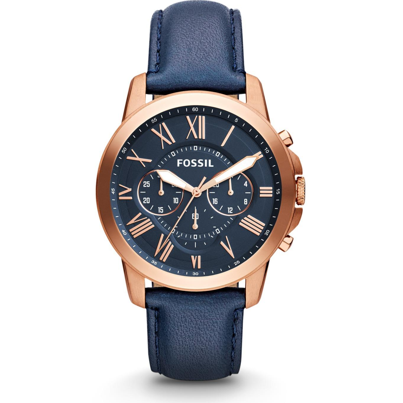 Fossil Men's Grant Navy Dial Navy Leather Watch FS4835