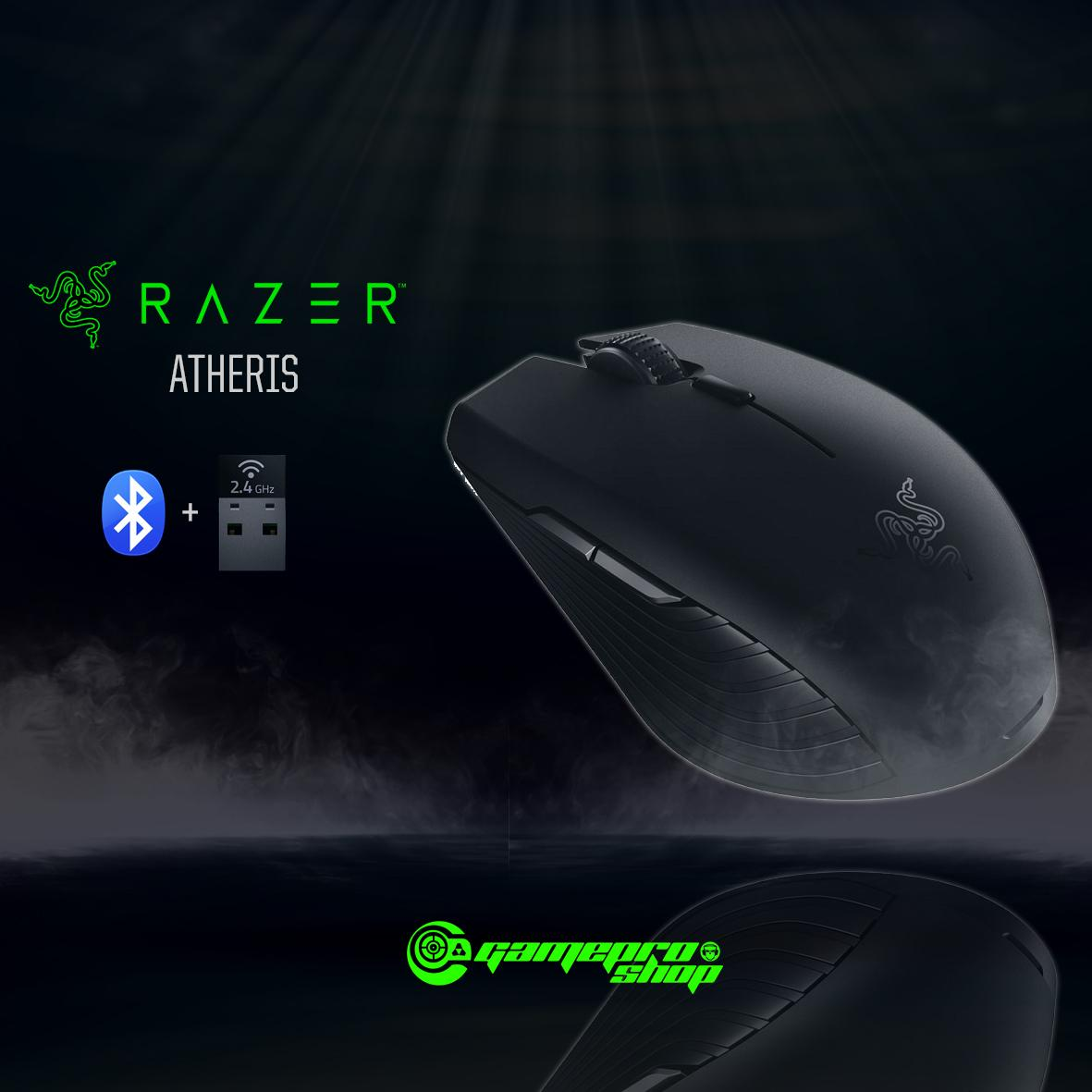 RAZER ATHERIS Gaming Wireless Bluetooth Mouse (Black / Mercury White)  *COMEX PROMO*