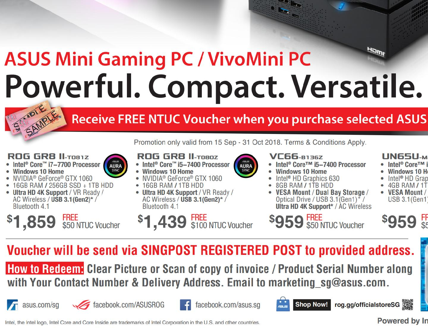 (Till 31Oct Redeem SGD50 voucher) ASUS VC66-B136Z, VivoMini PC with Windows 10 features a 7th-generation Intel® Core™ i5-7400 processor (3.50GHz,...