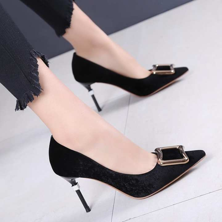 Gentlemen/Ladies~Faux suede spring New style pointed pointed pointed thin heeled pumps. ~Cavity e724b9