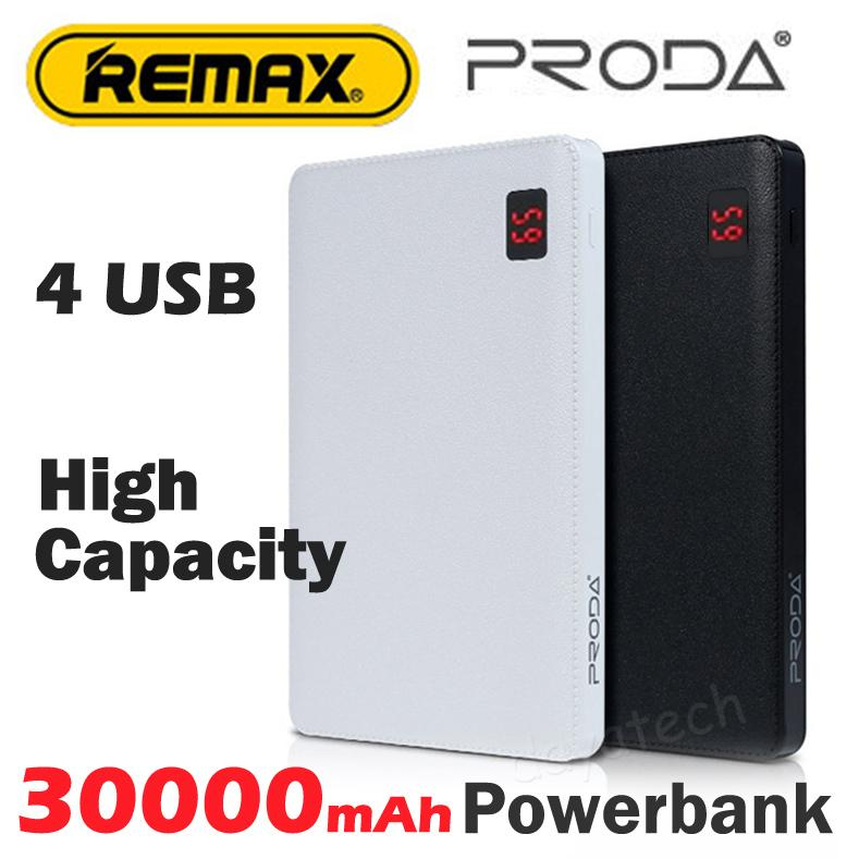 Remax 30000mAh High Capacity Powerbank ◇ Original Remax Proda Power Bank with LED Display / 4 USB Charging Port Portable Charger Back Up Battery