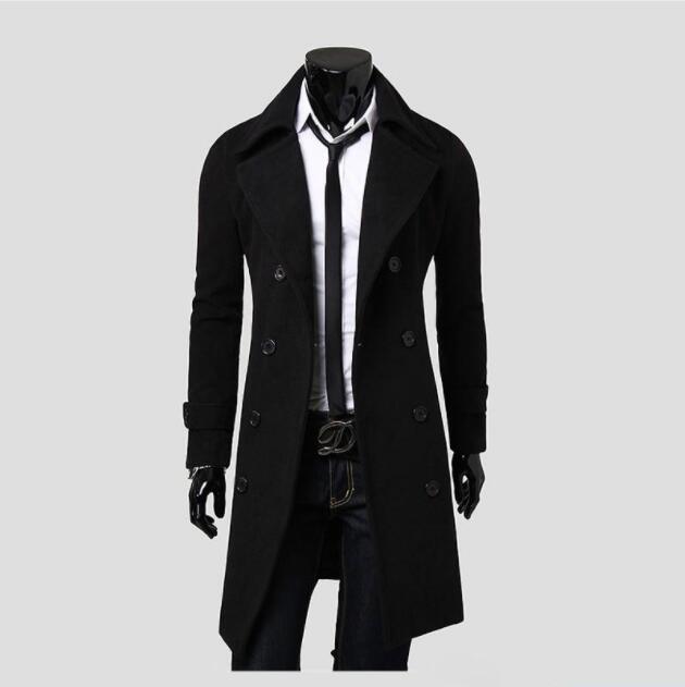 OTO thời trang Hàn Quốc Len Đôi rãnh dài áo khoác